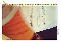 Glass Of Beer And Music Notes Carry-all Pouch by GoodMood Art