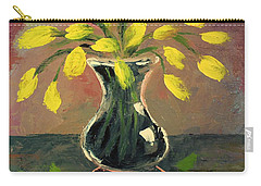 Glass Vase And Yellow Flowers Carry-all Pouch
