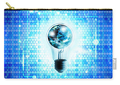 Globe And Light Bulb With Technology Background Carry-all Pouch