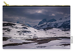 Carry-all Pouch featuring the photograph Gloomy Day On The Snow Road by Dmytro Korol