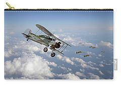 Carry-all Pouch featuring the digital art  Gloster Gladiator - Malta Defiant by Pat Speirs
