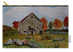Carry-all Pouch featuring the painting Glover Barn In Autumn by Donna Walsh