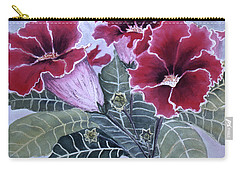 Carry-all Pouch featuring the painting Gloxinias by Karen Zuk Rosenblatt