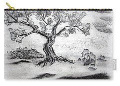 Carry-all Pouch featuring the drawing Gnarly Oak by J R Seymour