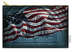 God Country Notre Dame American Flag Carry-all Pouch by John Stephens