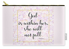 Carry-all Pouch featuring the painting God Is Within Her She Will Not Fall Bible Quote by Georgeta Blanaru