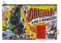 Godzilla King Of The Monsters An Enraged Monster Wipes Out An Entire City Vintage Movie Poster Carry-all Pouch