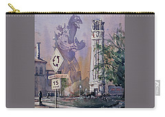 Carry-all Pouch featuring the painting Godzilla Smash Ncsu- Raleigh by Ryan Fox