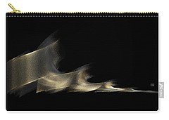 Carry-all Pouch featuring the digital art Gold And Platinum Shimmer On Black by Menega Sabidussi