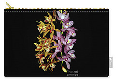 Carry-all Pouch featuring the photograph Gold And Red Orchid Display By Kaye Menner by Kaye Menner