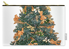 Gold Bow Xmas Card Carry-all Pouch