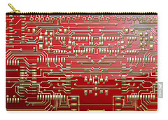 Gold Circuitry On Red Carry-all Pouch