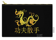 Gold Copper Dragon Kung Fu San Soo On Black Carry-all Pouch