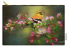 Gold Finch And Blossoms Carry-all Pouch