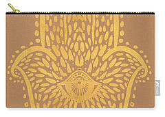 Gold Hamsa Hand On Brown Paper Carry-all Pouch