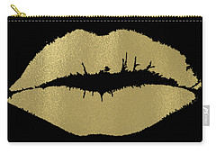 Gold Lips Kiss Carry-all Pouch