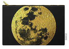 Carry-all Pouch featuring the digital art Gold Moon by Taylan Apukovska