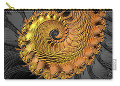 Carry-all Pouch featuring the digital art Golden And Black Fractal Spiral by Matthias Hauser