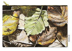Carry-all Pouch featuring the painting Golden Autumn - Talkeetna Leaves by Karen Whitworth