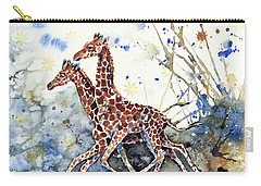 Carry-all Pouch featuring the painting Golden Childhood  by Zaira Dzhaubaeva