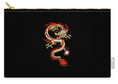 Golden Chinese Dragon Fucanglong On Black Silk Carry-all Pouch