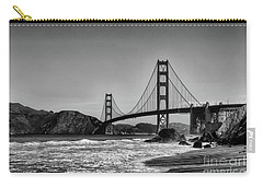 Golden Gate Bridge Black And White Carry-all Pouch by Peter Dang