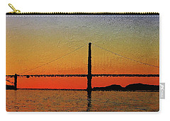 Carry-all Pouch featuring the digital art Golden Gate Bridge Panoramic by PixBreak Art