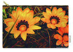 Carry-all Pouch featuring the photograph Golden Gazanias by Cassandra Buckley
