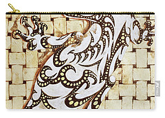 Carry-all Pouch featuring the painting Golden Gecko by J- J- Espinoza