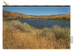 Carry-all Pouch featuring the photograph Golden Grasses Along The Snake River by Brenda Jacobs