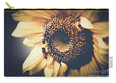 Carry-all Pouch featuring the photograph Golden Honey Bees And Sunflower by Sharon Mau