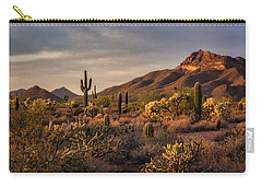 Carry-all Pouch featuring the photograph Golden Hour On The Usery  by Saija Lehtonen