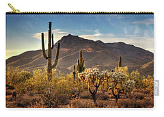 Carry-all Pouch featuring the photograph Golden Hour On Usery Mountain  by Saija Lehtonen