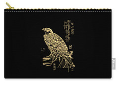 Golden Japanese Peregrine Falcon On Black Canvas  Carry-all Pouch