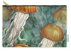 Golden Jellyfish In Green Sea Carry-all Pouch