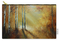 Golden Light In Autumn Woods Carry-all Pouch