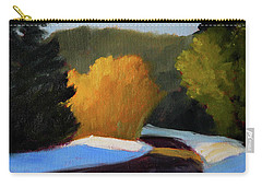 Carry-all Pouch featuring the painting Golden Light Winter Road by Nancy Merkle