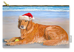 Carry-all Pouch featuring the painting Golden Retreiver Holiday Card by Karen Zuk Rosenblatt
