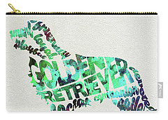 Carry-all Pouch featuring the painting Golden Retriever Dog Watercolor Painting / Typographic Art by Ayse and Deniz