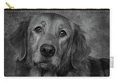 Golden Retriever In Black And White Carry-all Pouch by Greg Mimbs