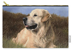 Golden Retriever Painting Carry-all Pouch by Rachel Stribbling