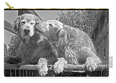 Golden Retrievers The Kiss Black And White Carry-all Pouch