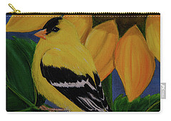 Goldfinch And Sunflower Carry-all Pouch by Jane Axman