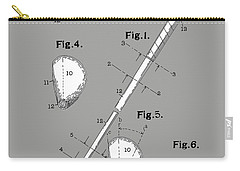 Golf Club Patent Drawing Grey Carry-all Pouch