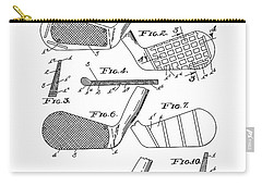 Golf Club Patent Drawing White 3 Carry-all Pouch