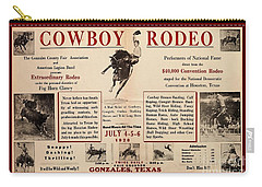 Carry-all Pouch featuring the drawing Gonzales Texas County Fair Cowboy Rodeo Bronco Busting 1928 Texas Cowboy Culture by Peter Gumaer Ogden
