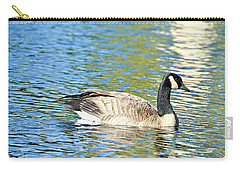 Carry-all Pouch featuring the photograph Goose And Sun Reflections by David Lawson