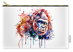 Carry-all Pouch featuring the mixed media Gorilla by Marian Voicu
