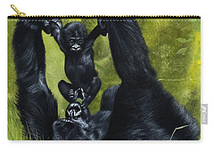 Gorilla Playing With Baby Carry-all Pouch