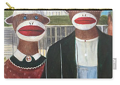 Carry-all Pouch featuring the painting Gothic American Sock Monkeys by Randol Burns